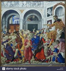 painting massacre of the innocents by italian renaissance painter matteo di giovanni 1481 1488 on display in the museo di capodimonte in naples