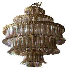 1980s carnival petal leaf lucite chandelier