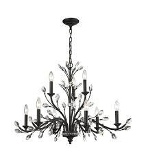 elk 11776 6 3 crystal branches 9 light 33 inch burnt bronze chandelier ceiling light