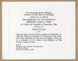Unveiling Invitations Invitation To Unveiling Of Alvin C York Memorial On Capitol