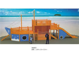 outside play set outdoor wooden playground set in pirate ship shape in kindergarten and preschool