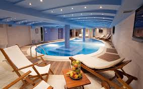 Luxurious Indoor Swimming Pools To Get Private Experience: Luxuriou Round Indoor  Pool With Cozy Balcony