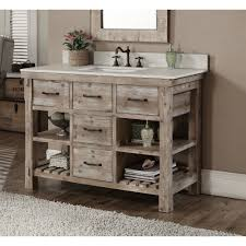 Bathroom Single Vanity Infurniture Rustic Style Carrara White Marble Top 48 Inch Bathroom