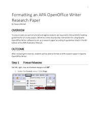 Apa Page Formatting An Apa Open Office Writer Document