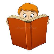 cartoon boy reading big book stock vector ilration of elementary study 18122404