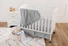 american baby company heavenly soft minky dot 3 piece mini portable crib bedding set blue for boys and girls com