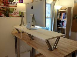 simple diy office ideas diy. DIY Office Classic Standing Desk With Modern Flat Silver Computer Round White Shade Chrome Table Lamp And Simple Multifunction Wooden Shelf 10 Designs In Diy Ideas