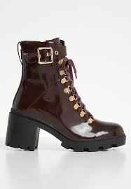 public desire faux leather combat boot burdy patent