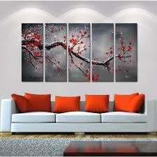 homey inspiration 5 piece wall art set interior designing home ideas winter plum oil hand painted canvas 13101983 sets