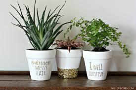 DIY Gold Foil Lettering on Flower Pots. Homemade rock flower pot .
