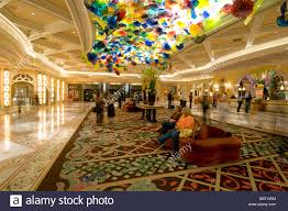 venetian glass sculpture on the ceiling of the bellagio resort and las vegas nevada