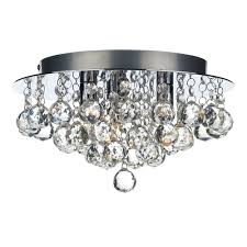 pluto 3 light flush in crystal and polished chrome