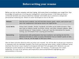 2; 3. Before writing your resume ...