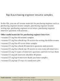 Purchase Resume Samples Top 8 Purchasing Engineer Resume Samples