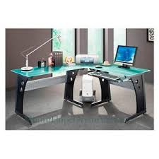 Glass top office furniture Solid Wood Glasstopcomputerdeskmoderngraphitecornergaming Ebay Glass Top Computer Desk Modern Graphite Corner Gaming Home Office