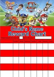 Personalised Paw Patrol Reward Chart Potty Training