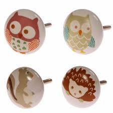 Nursery Bedroom Furniture Owls Painted Ceramic Door Knobs Childrens Nursery Bedroom