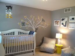 Amazing Nursery Ideas For Small Spaces With Grey Stained Wall Design And Trees Paint Art Also Elephant Photos Plus Decorative Lighting