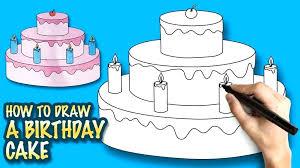 How To Draw Birthday Cake Step By Step Vidhicardscom