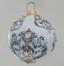 Details Zu Christbaumkugel Christbaumschmuck Weihnachtskugel Glas Weißblaugold 10 Cm