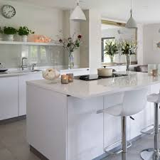 White Floor Kitchen White Kitchens Ideal Home