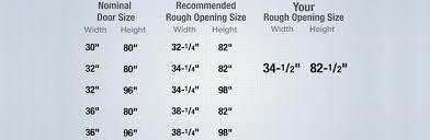 a chart of exterior door measurements