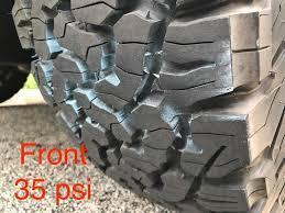 Tire Pressure Chalk Test Bfgoodrich Ko2 265 70 16 2014