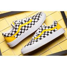 vans yellow and black. vans classic checkerboard old skool skateboard yellow black white canvas sneakers and