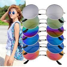 <b>Women Men Colorful</b> Mirror lens Round Glasses Sunglasses ...