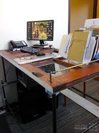 pipe standing desk with door table top