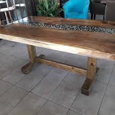 luxury handmade wood furniture concept walnut transpa black epoxy resin with river pebbles natural stone hart and led light dining