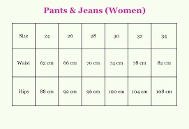Jeans Sizing Conversion Online Charts Collection