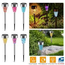 Details About 12 Pcs Led Solar Power Landscape Garden Mosaic Lights Lawn Rechargeable Lamp Us