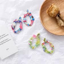 <b>Korean Fashion</b> Women Colorful <b>Geometric</b> Acrylic <b>Dangle</b> Earrings ...