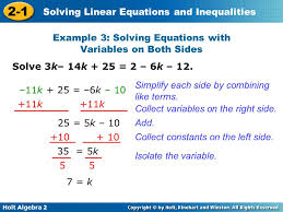 how to solve linear equations with variables on both sides