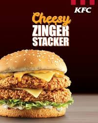 kfc new cheesy zinger stacker es with 2 zinger fillets 2 cheese slices and 2 clic sauces