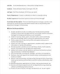 Retail Supervisor Job Description Front Desk Receptionist Job