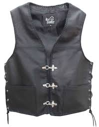 mens leather waistcoat biker vest sides laced up fish hook buckle men