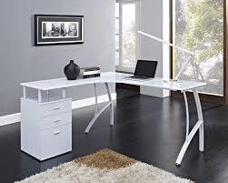 ... Beautiful Modern Corner Computer Desk Metal Base Material Laminate Top  White Finish 3 Drawer File Storage ...