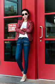 cur elliott the soho zip sti jeans mango studded leather biker jacket in red