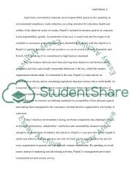 pepsio s ethical and socially responsibility essay pepsios ethical and socially responsibility essay example
