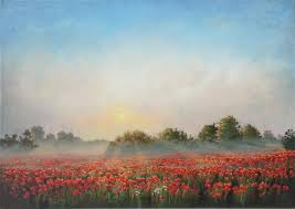 original art for at ugallery com sunrise over poppy field by stefan conka