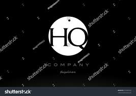 HQ H Q simple black white circle background alphabet company logo design  vector icon template