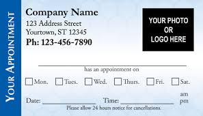 Appointment Card Template Medical Appointment Cards Doctors Appointment Cards