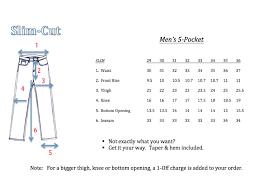 Mens Jeans Chart Mens Slim Size Chart Rufcut Jeans