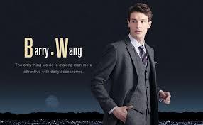 Barry.Wang Black Tie Pocket Suquare Set Cufflinks ... - Amazon.com