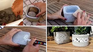 make these simple diy concrete planters