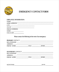 Sample Emergency Contact Form 11 Free Documents In Word Pdf