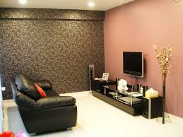 simple living furniture. Simple Living Room Design With Bright Walls Dark Furniture Sets And Floral Pattern Wallpaper Shiny White Glossy Ceramic Tile Flooring Black Leather