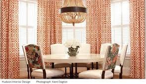 trellis fabrics elegant orange white curtains dinning room chairs table